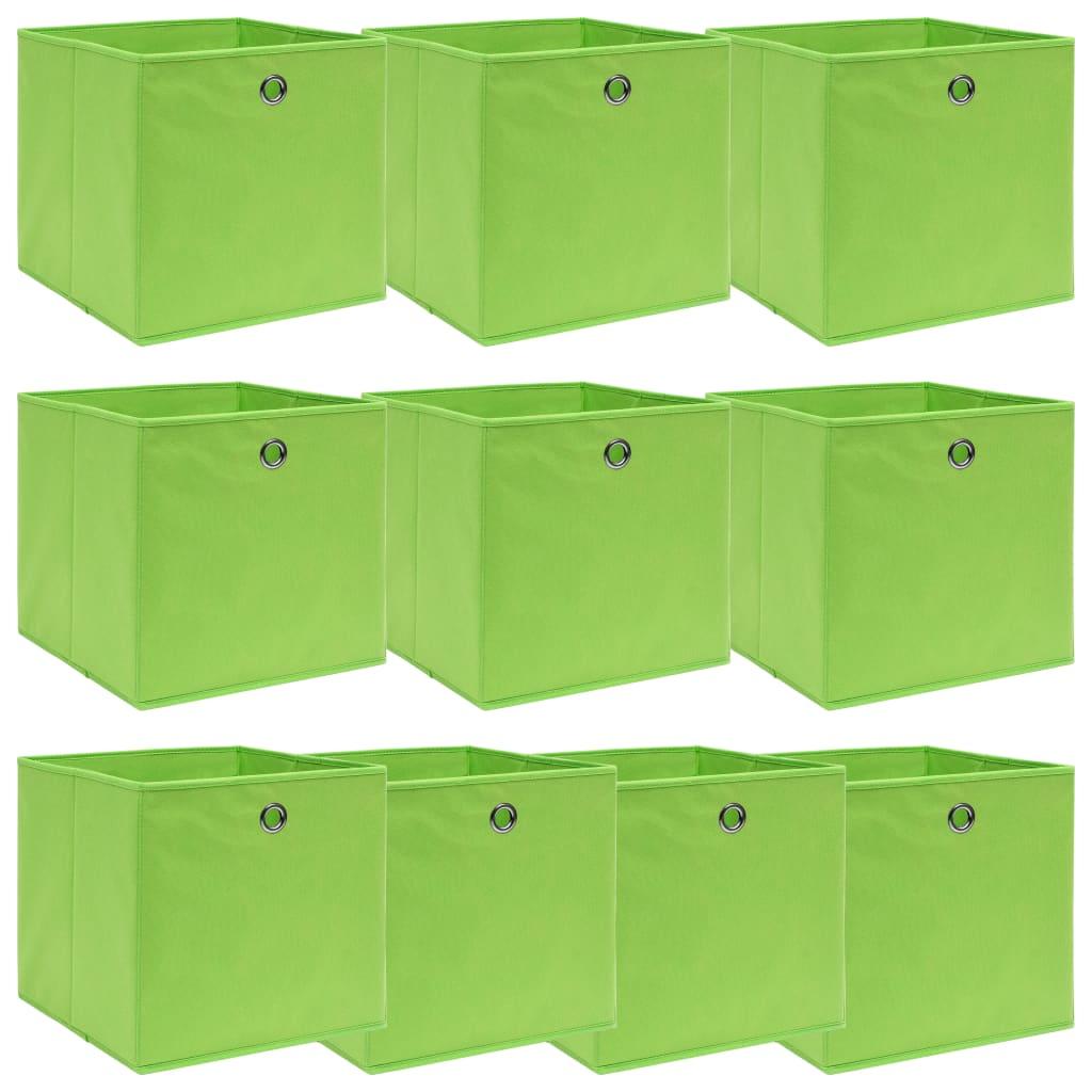vidaXL Úložné boxy 10 ks zelené 32x32x32 cm látkové