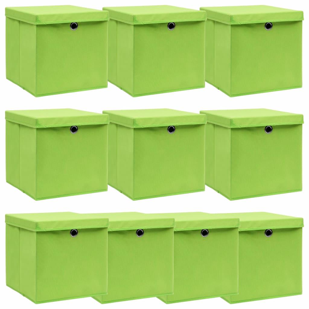 vidaXL Úložné boxy s vrchnákmi 10 ks zelené 32x32x32 cm látkové