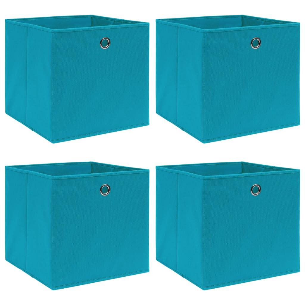 vidaXL Úložné boxy 4 ks bledomodré 32x32x32 cm látkové