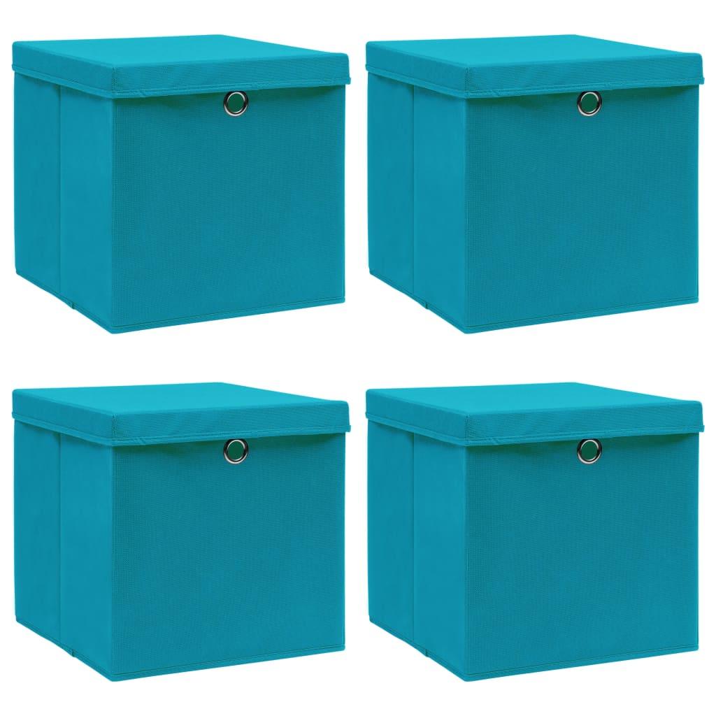 vidaXL Úložné boxy s vrchnákmi 4 ks bledomodré 32x32x32 cm látkové