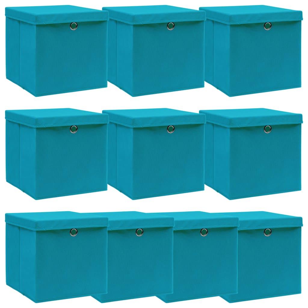 vidaXL Úložné boxy s vrchnákmi 10 ks bledomodré 32x32x32 cm látkové