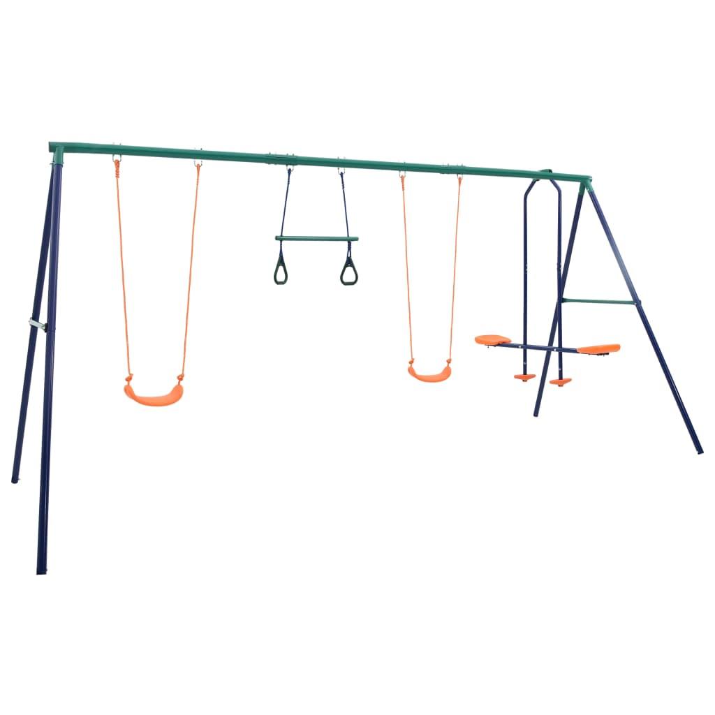 vidaXL Sada hojdačky s gymnastickými kruhmi a 4 sedačkami oceľ