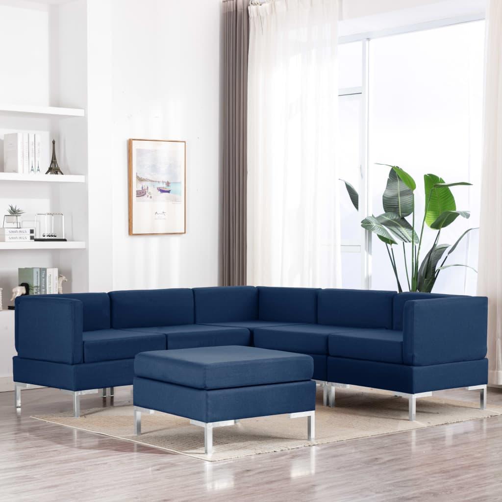 vidaXL 6-dielna sedacia súprava modrá látková