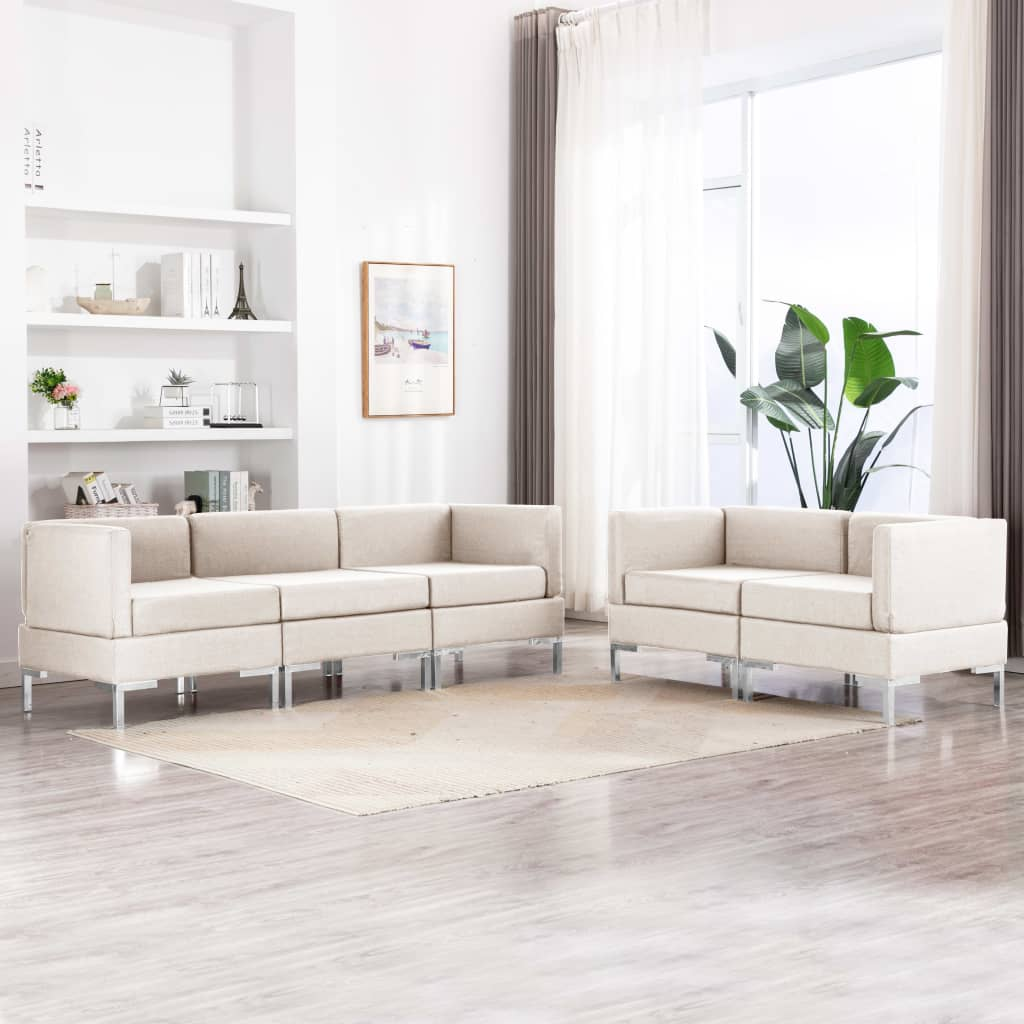 vidaXL 5-dielna sedacia súprava, látka, krémová