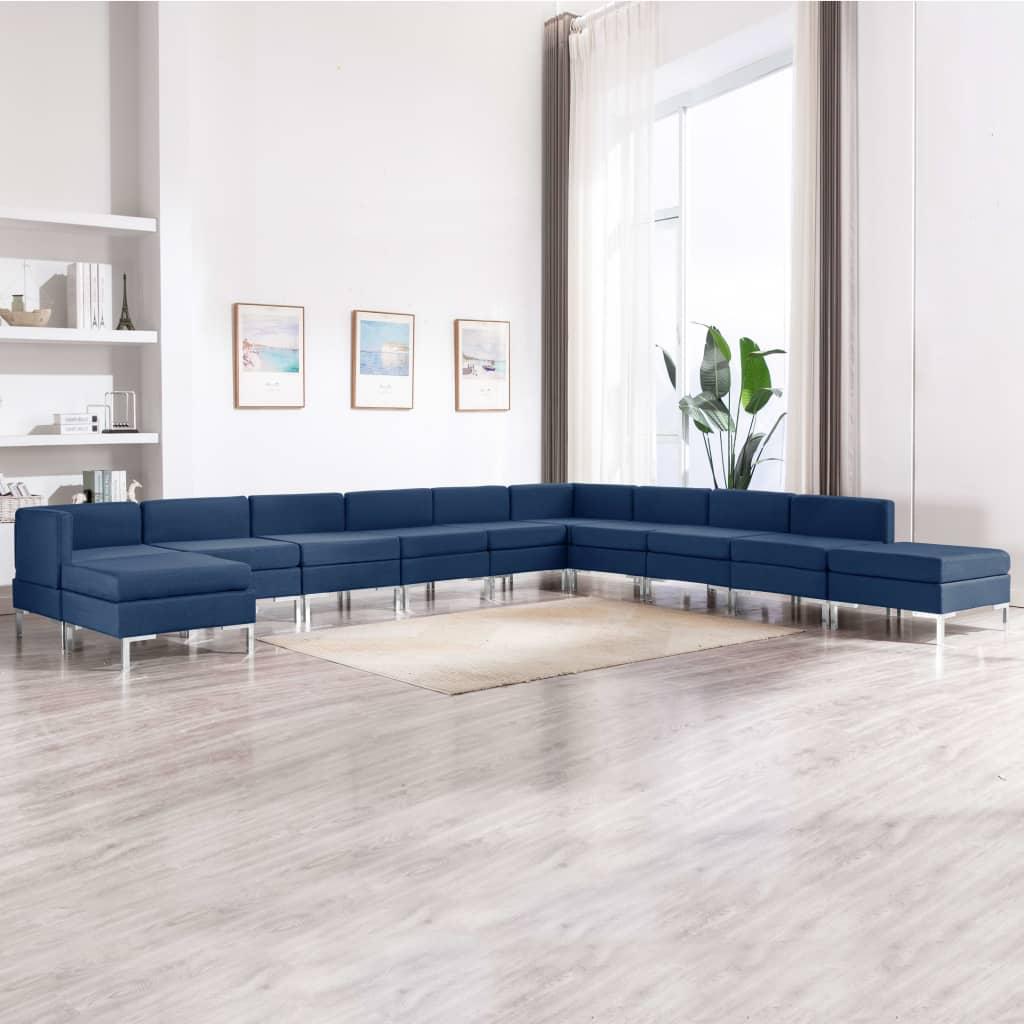 vidaXL 11-dielna sedacia súprava modrá látková