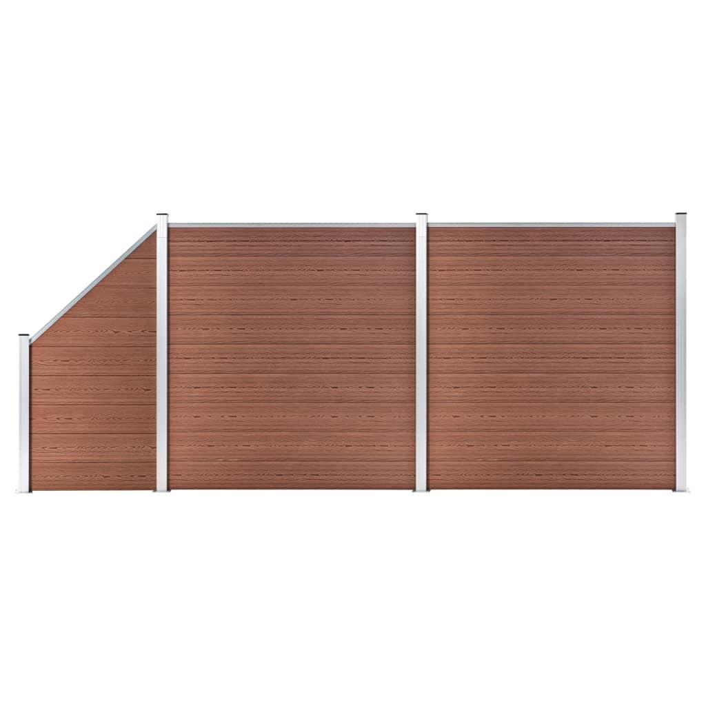 vidaXL WPC plot, 2 štvorcové + 1 zošikmený diel 446x186 cm, hnedý