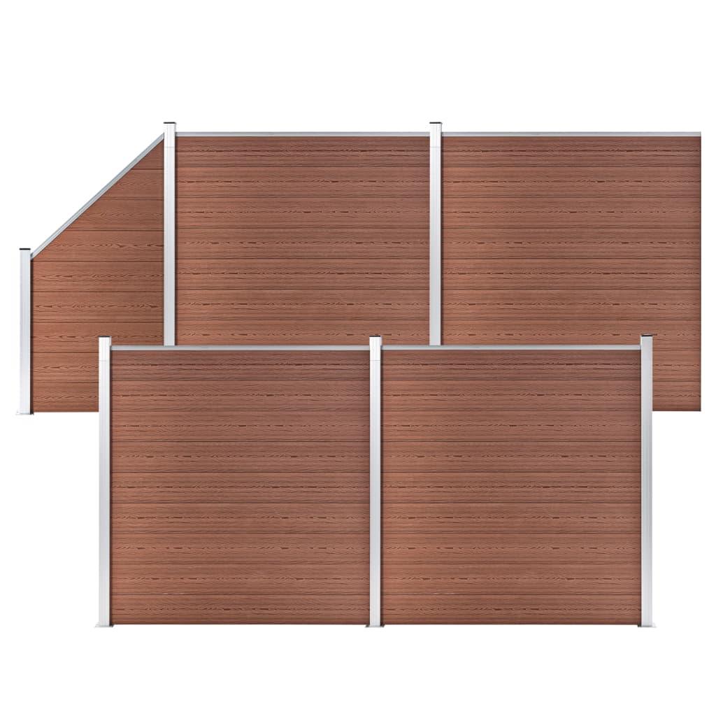 vidaXL WPC plot, 4 štvorcové + 1 zošikmený diel 792x186 cm, hnedý