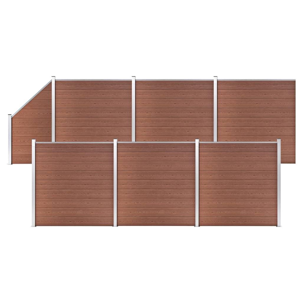 vidaXL WPC plot, 6 štvorcových + 1 zošikmený diel 1138x186 cm, hnedý