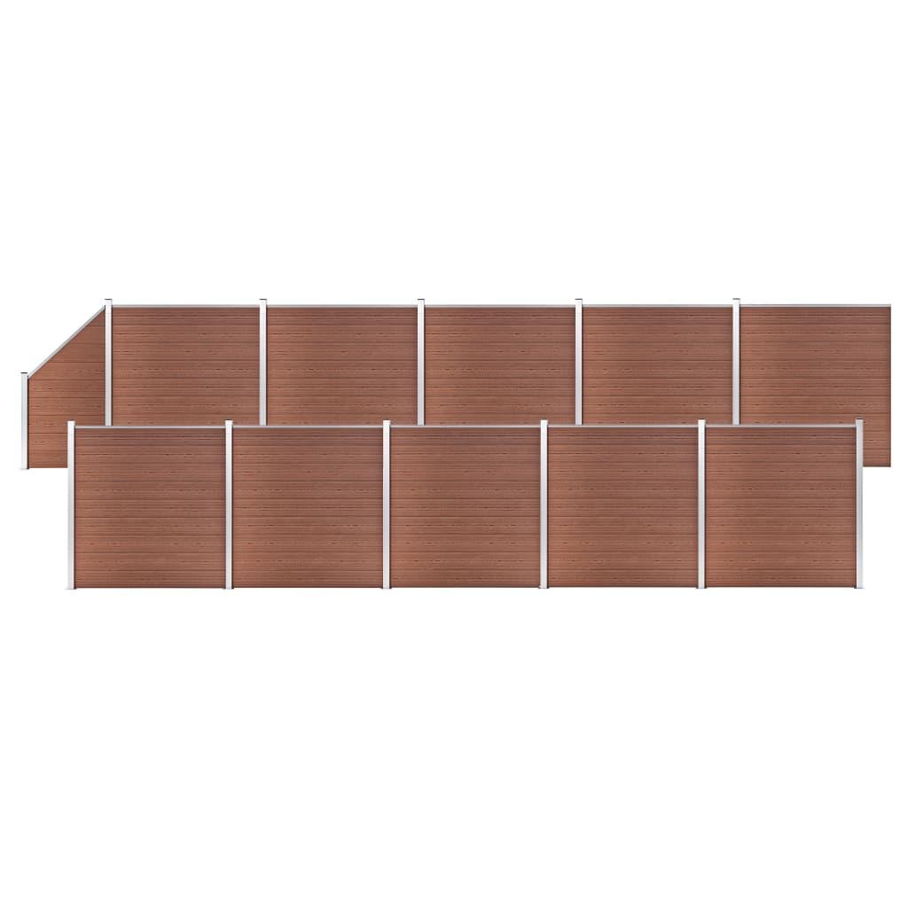 vidaXL WPC plot, 10 štvorcových + 1 zošikmený diel 1830x186 cm, hnedý