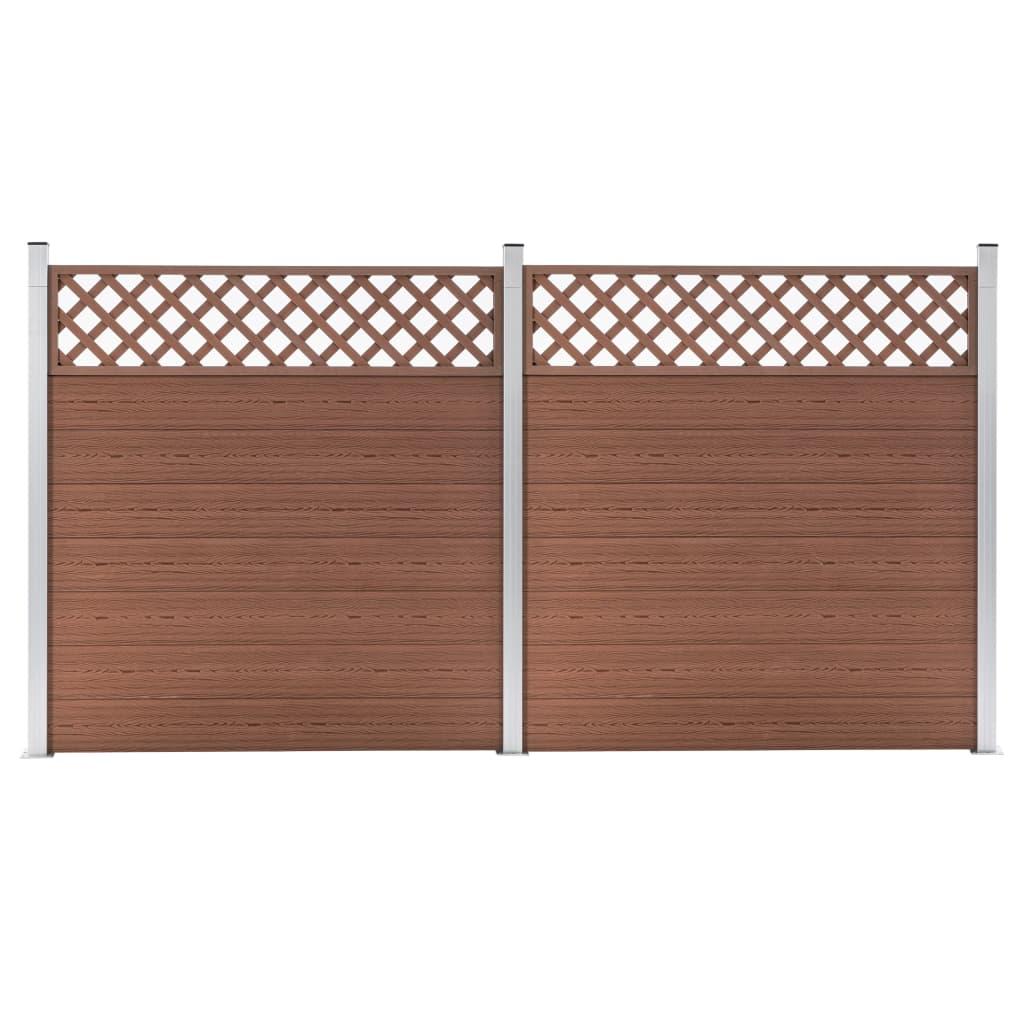 vidaXL WPC plot, 2 štvorcové diely 353x185 cm, hnedý