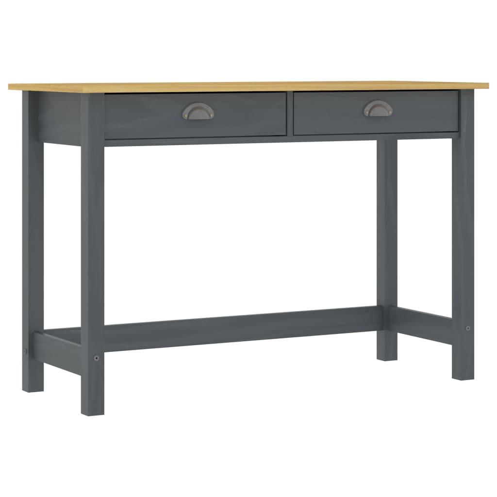 vidaXL Konzolový stolík Hill Range s 2 zásuvkami sivý 110x45x74 cm borovicový masív