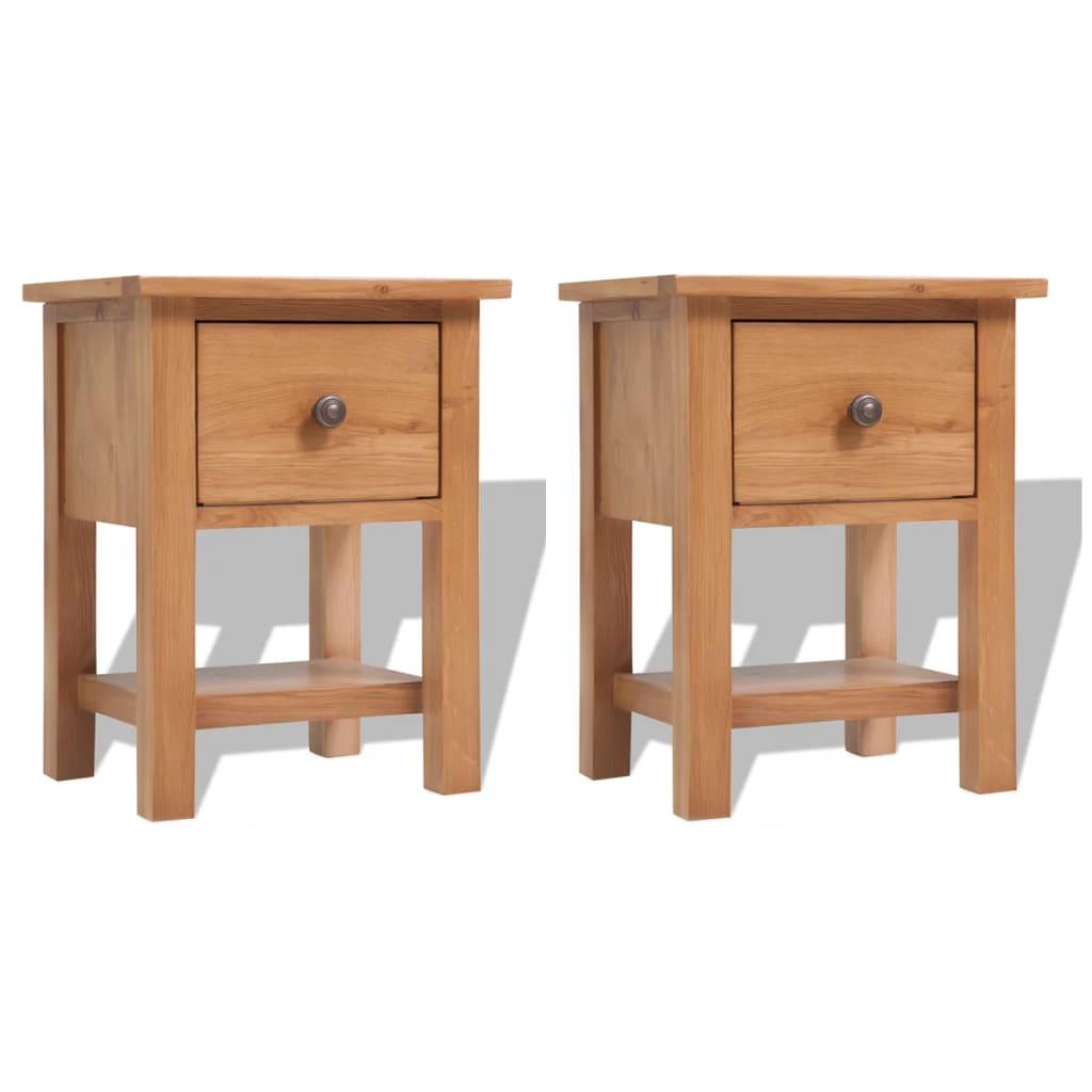 vidaXL Nočné stolíky 2 ks 36x30x47 cm dubový masív