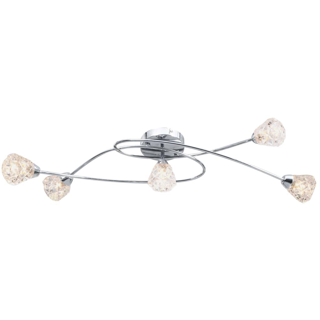 vidaXL Stropná lampa s brúsenými tienidlami na 5 žiaroviek G9, sklo