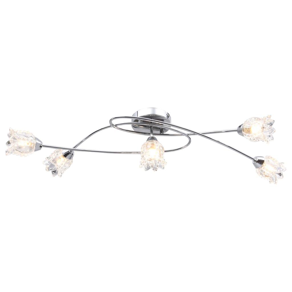 vidaXL Stropná lampa s kvetinovými tienidlami na 5 žiaroviek G9, sklo