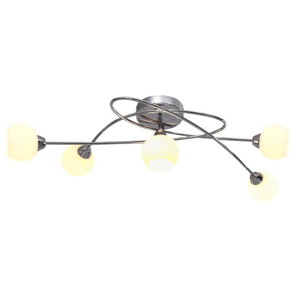 vidaXL Stropná lampa s okrúhlymi keramickými tienidlami 5 žiaroviek G9