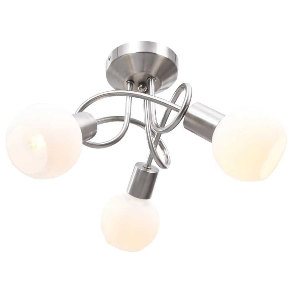 vidaXL Stropná lampa+keramické tienidlá na 3 žiarovky E14, biela guľa
