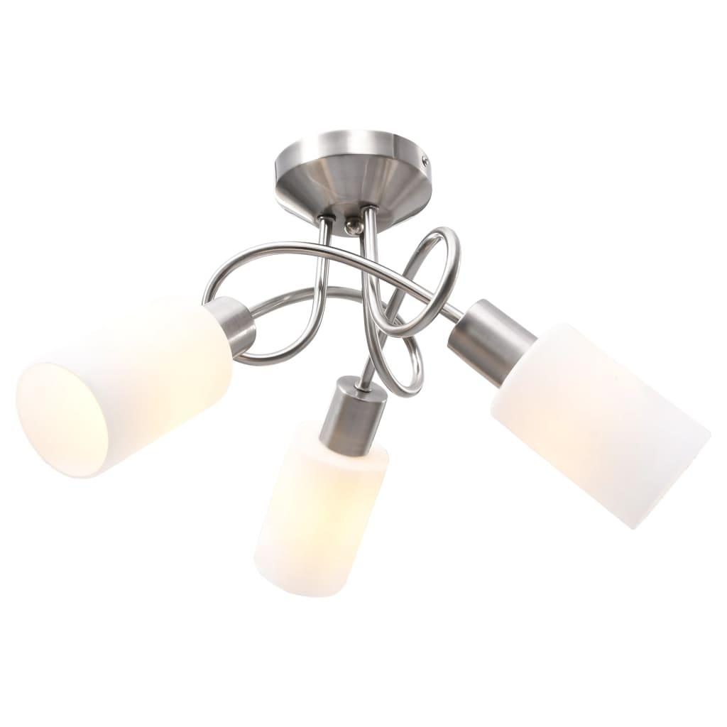 vidaXL Stropná lampa+keramické tienidlá na 3 žiarovky E14, biely kužeľ