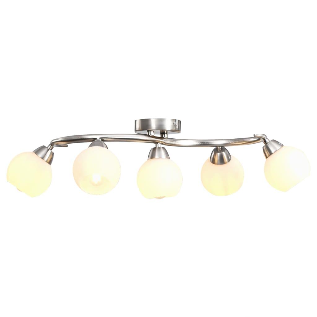 vidaXL Stropná lampa s keramickými tienidlami na 5 žiaroviek E14 biela guľa