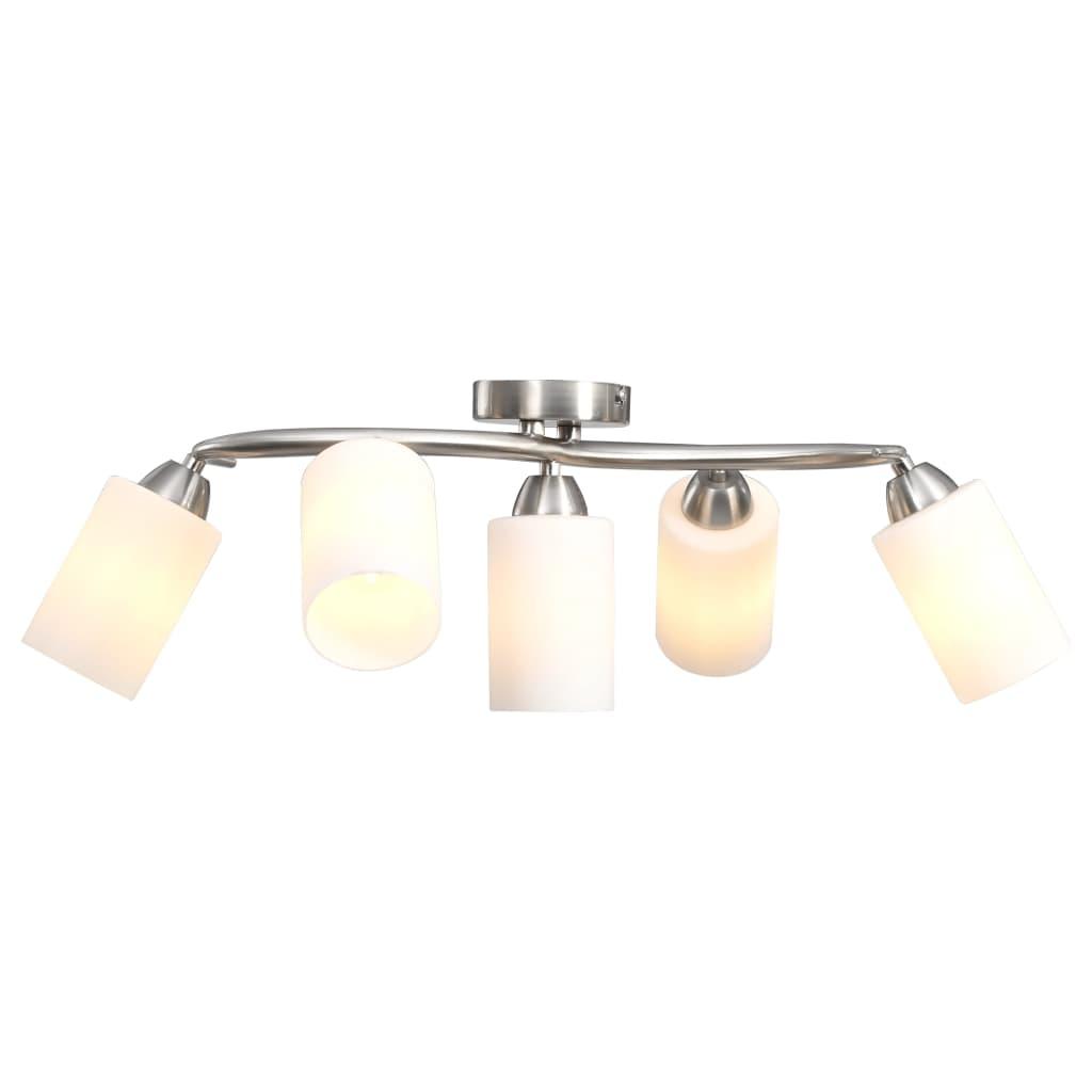 vidaXL Stropná lampa s keramickými tienidlami na 5 žiaroviek E14 biely kužeľ