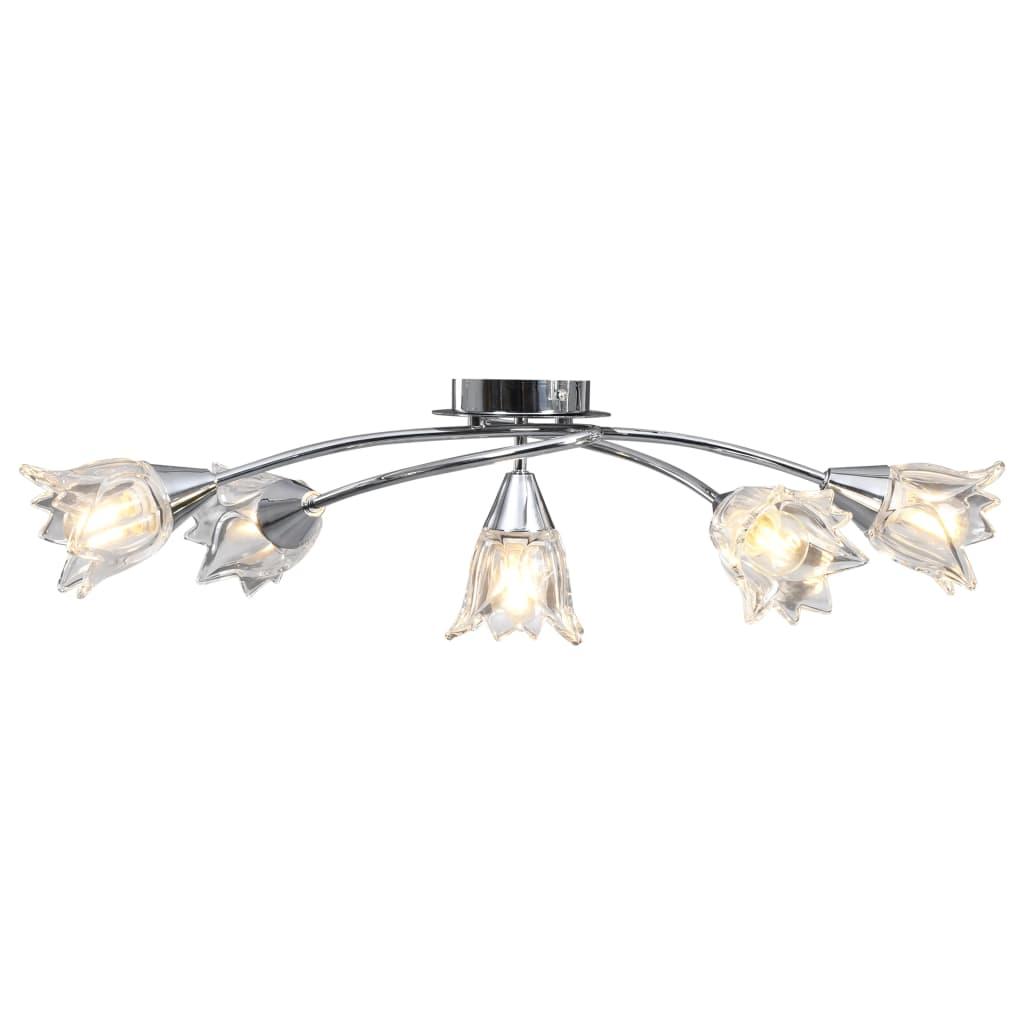 vidaXL Stropná lampa+sklenené tienidlá na 5 žiaroviek E14, tulipán