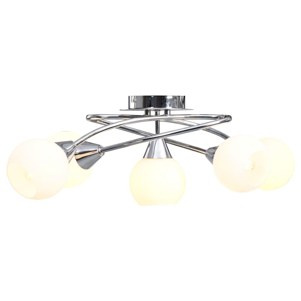 vidaXL Stropná lampa+keramické tienidlá na 5 žiaroviek E14, biela guľa