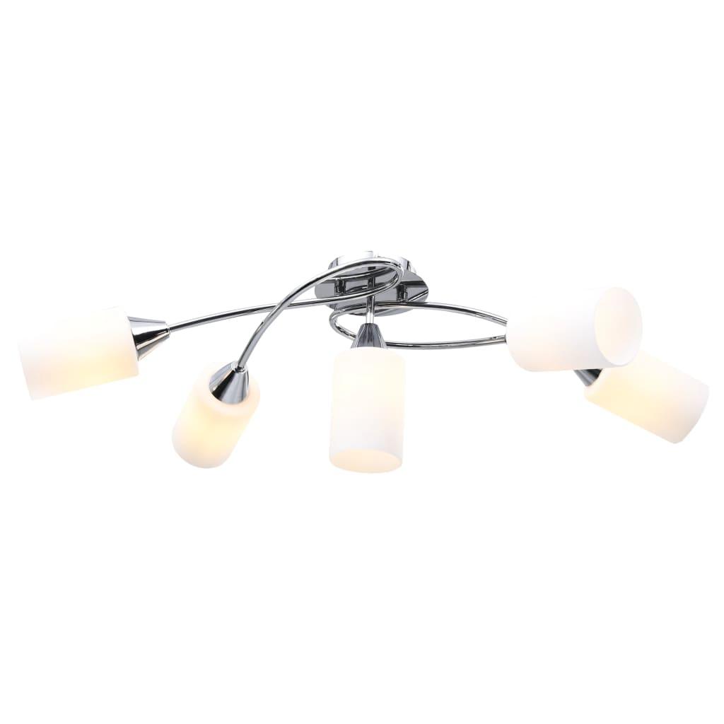 vidaXL Stropná lampa+keramické tienidlá na 5 žiaroviek E14,biely kužeľ