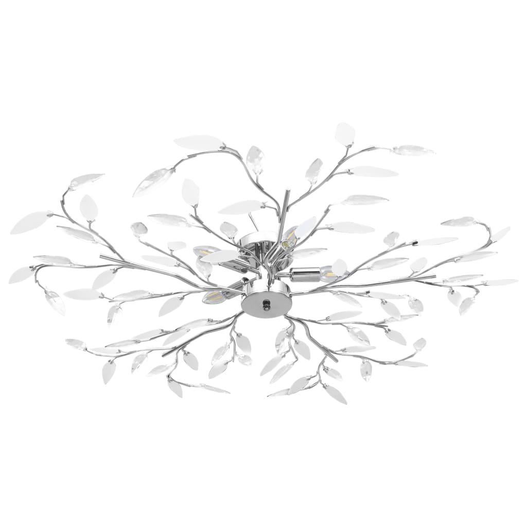 vidaXL Stropná lampa s listovými ramenami akrylové kryštály 5 žiaroviek E14 biela