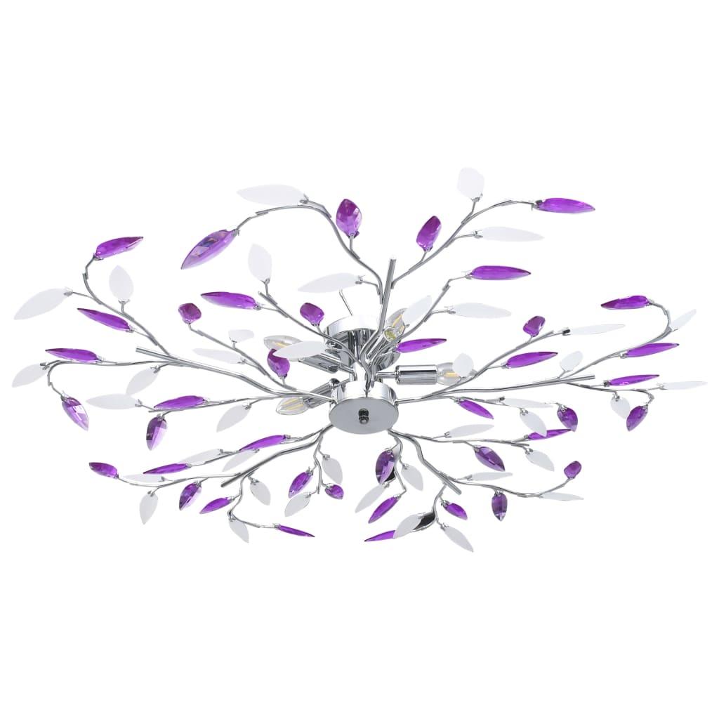 vidaXL Stropná lampa s listovými ramenami akrylové kryštály 5 žiaroviek E14 fialová
