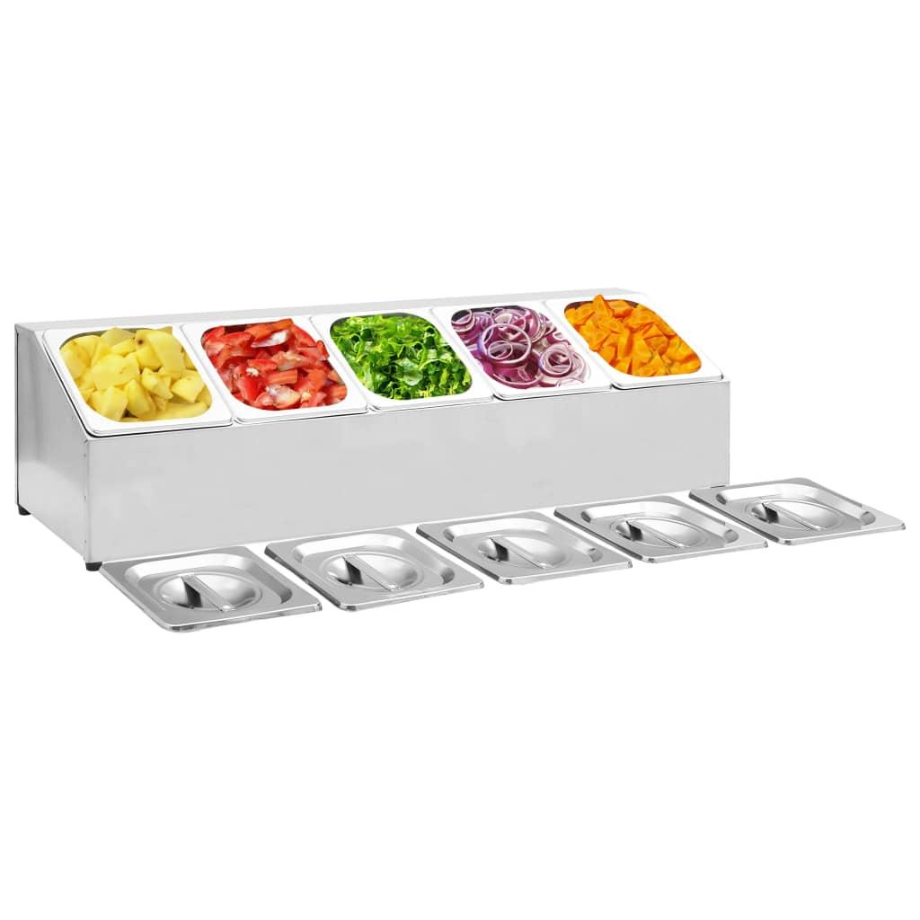 vidaXL Držiak na gastronádoby s 5 GN 1/6 nádobami nehrdzavejúca oceľ