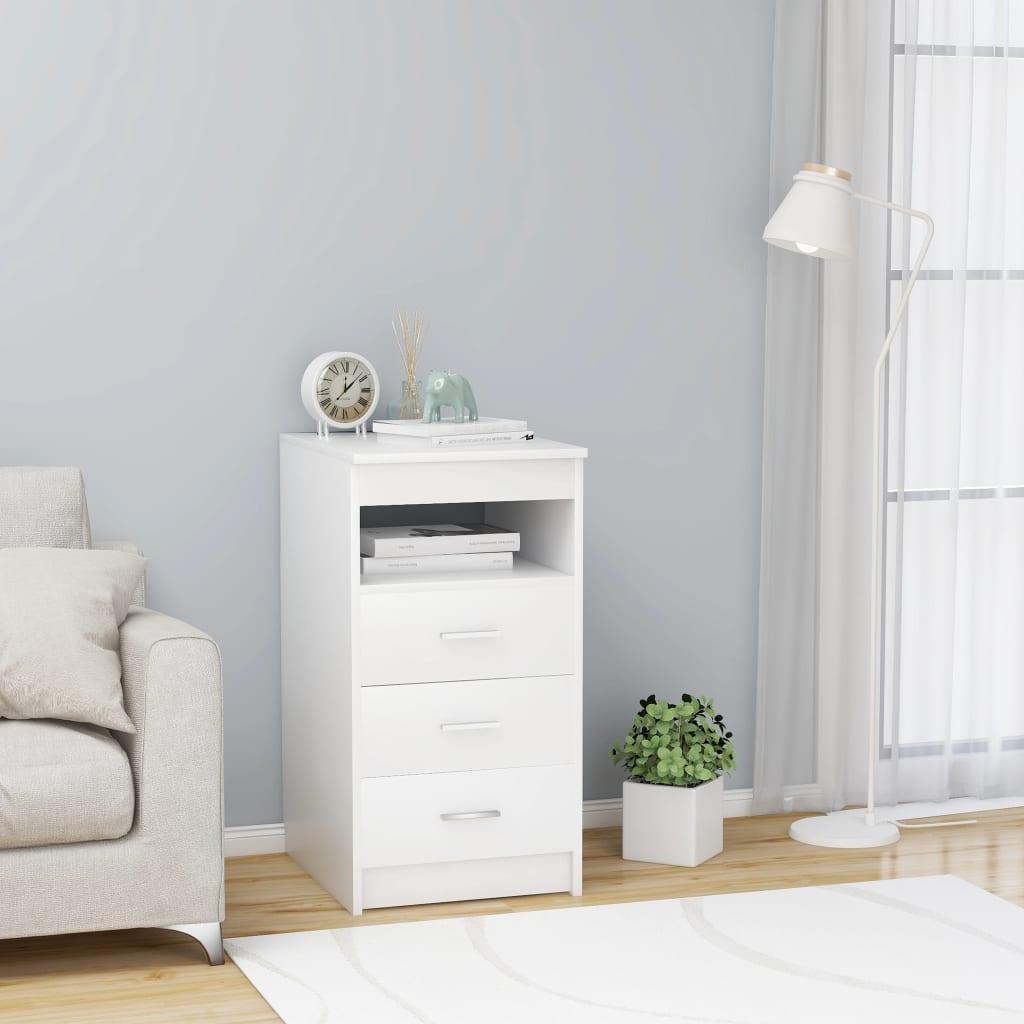 vidaXL Zásuvková skrinka biela 40x50x76 cm drevotrieska
