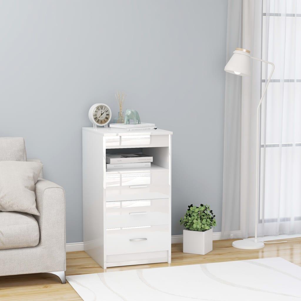 vidaXL Zásuvková skrinka lesklá biela 40x50x76 cm drevotrieska