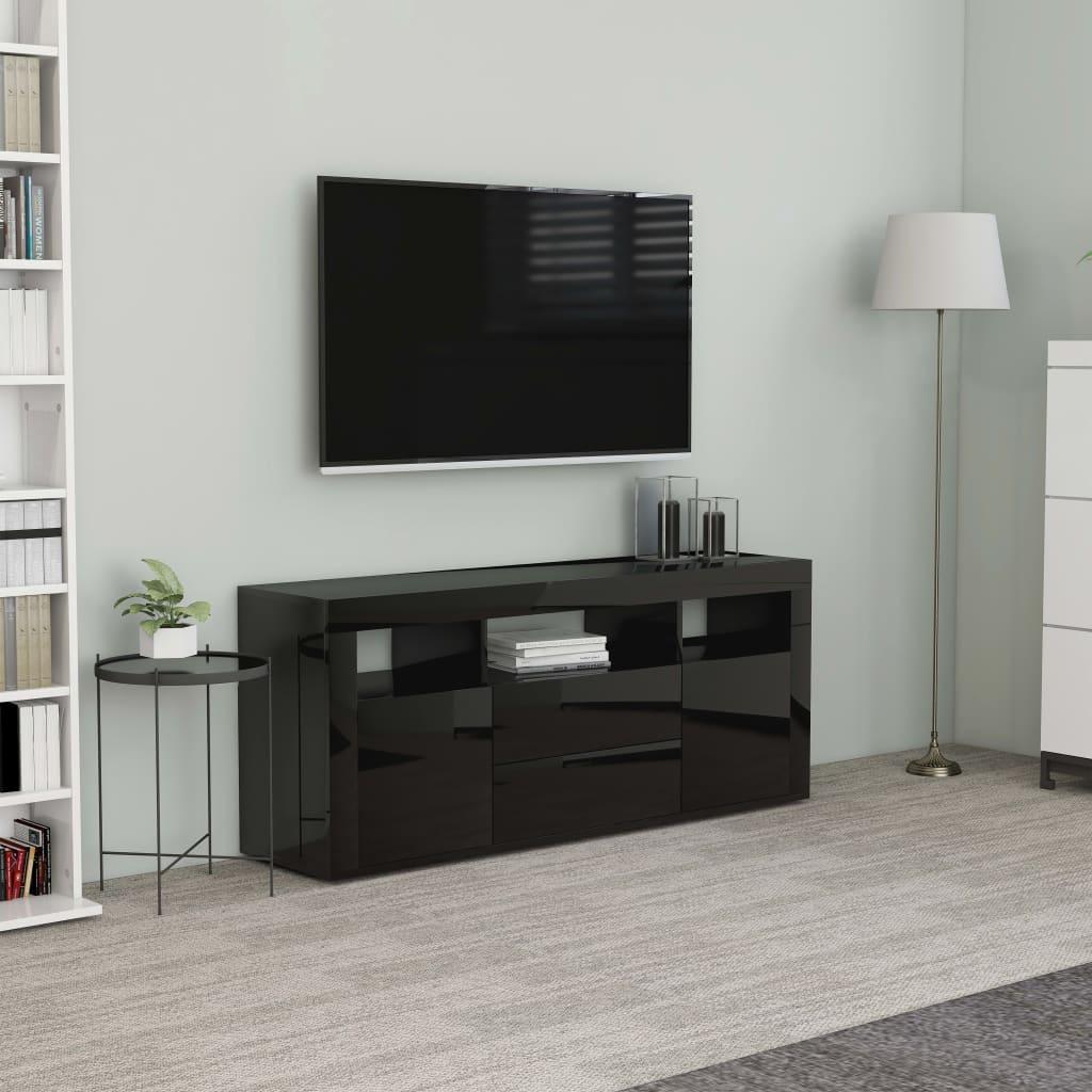 vidaXL TV skrinka, lesklá čierna 120x30x50 cm, drevotrieska
