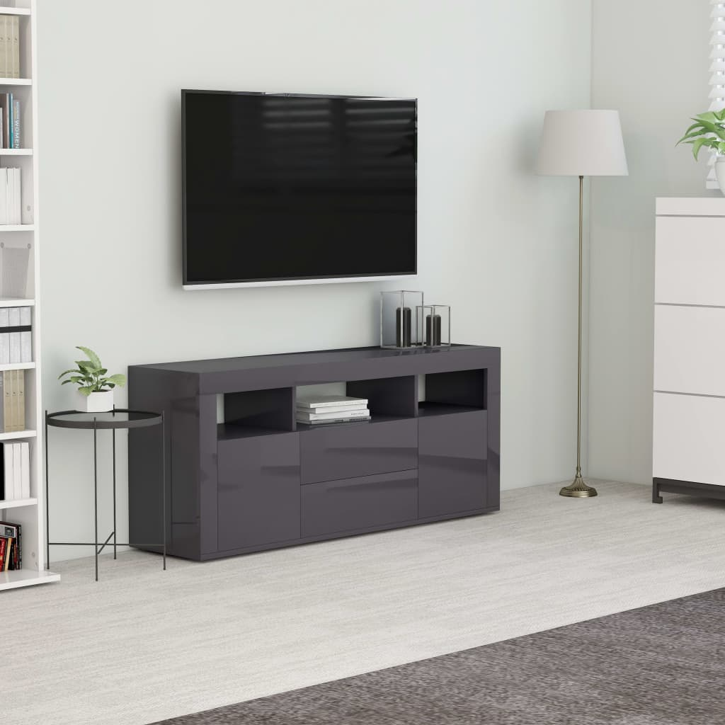vidaXL TV skrinka, lesklá sivá 120x30x50 cm, drevotrieska