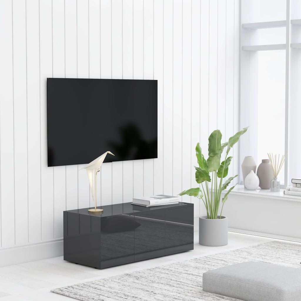 vidaXL TV skrinka, lesklá sivá 80x34x30 cm, drevotrieska
