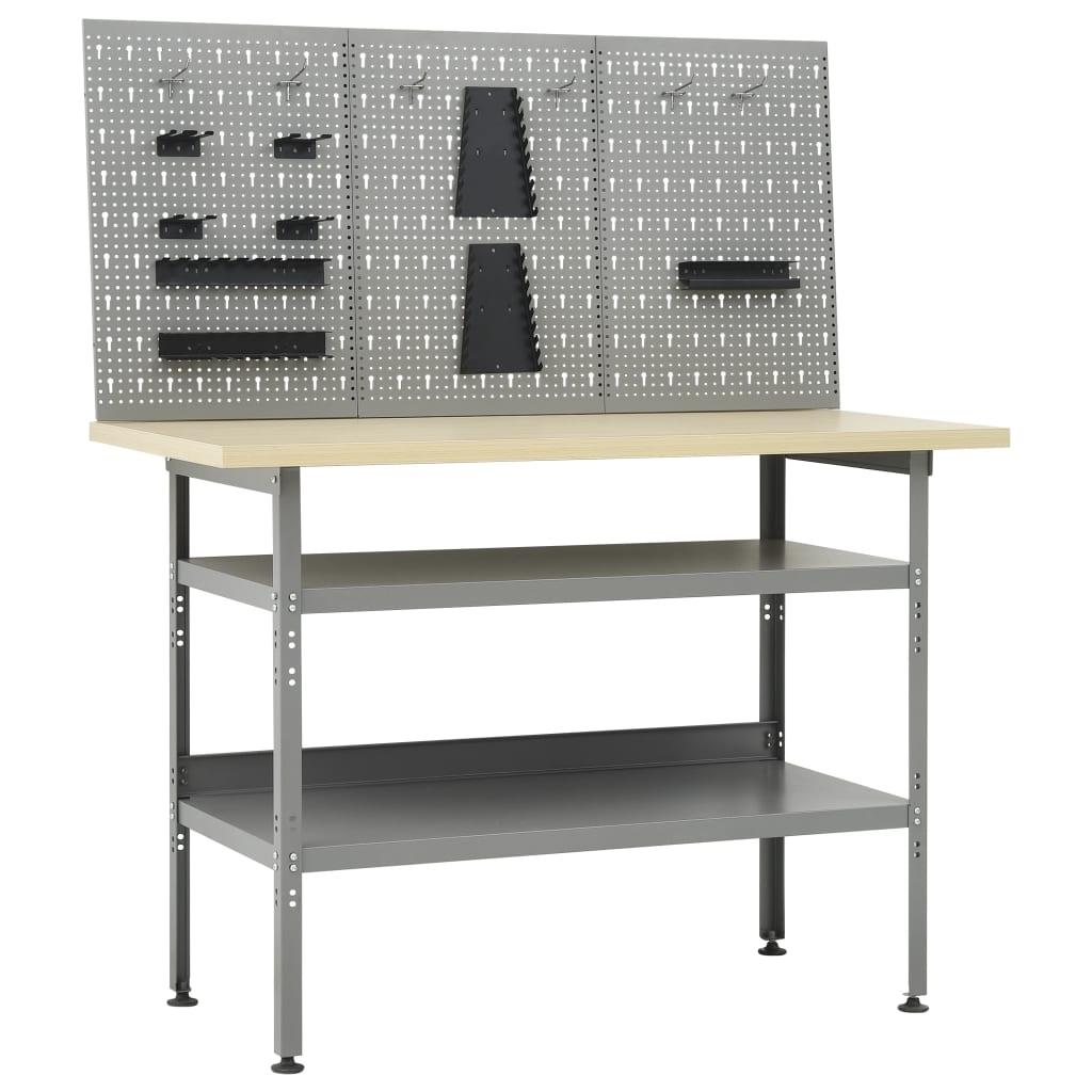 vidaXL Pracovný stôl s tromi nástennými panelmi