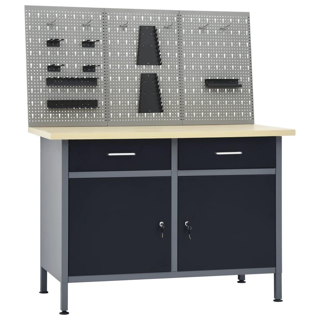 vidaXL Pracovný stôl s tromi stenovými panelmi