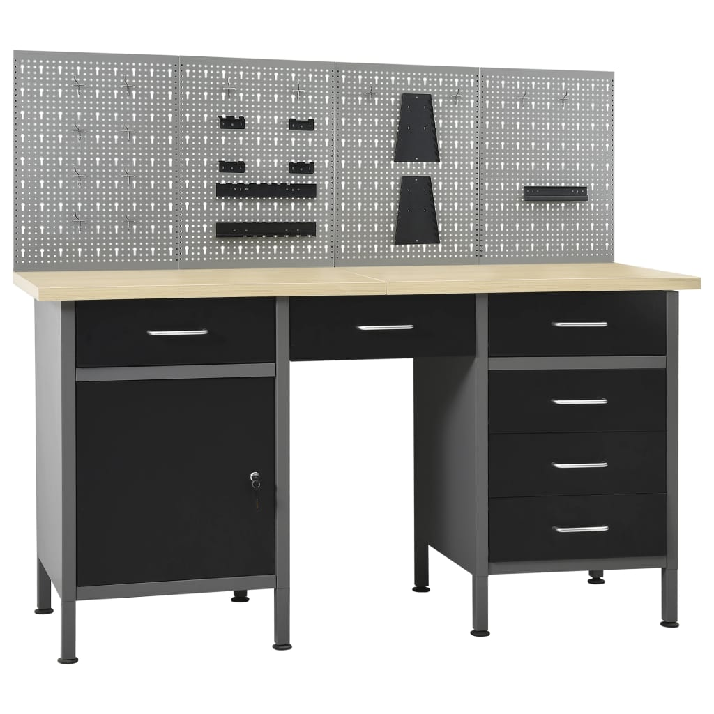 vidaXL Pracovný stôl so štyrmi stenovými panelmi