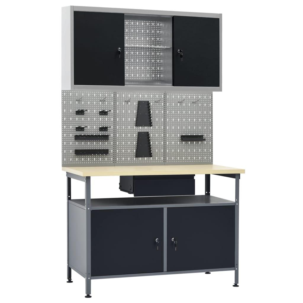 vidaXL Pracovný stôl s tromi nástennými panelmi a jednou skrinkou