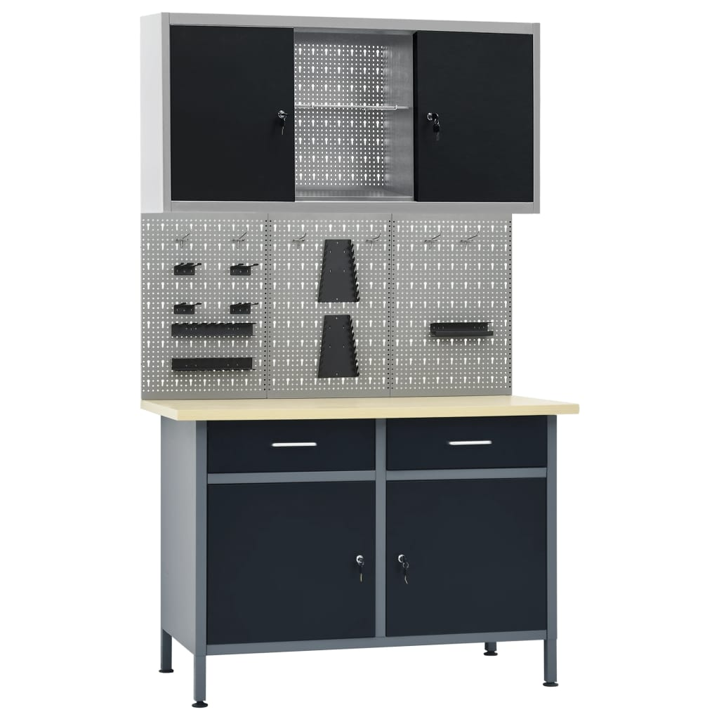 vidaXL Pracovný stôl s tromi stenovými panelmi a jednou skrinkou