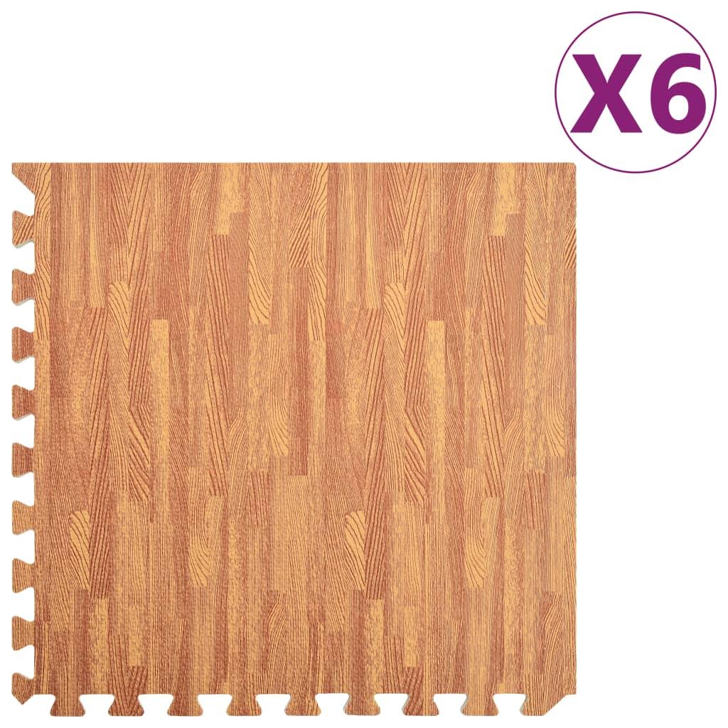 vidaXL Podložka puzzle štruktúra dreva 6 ks 2,16㎡ EVA pena