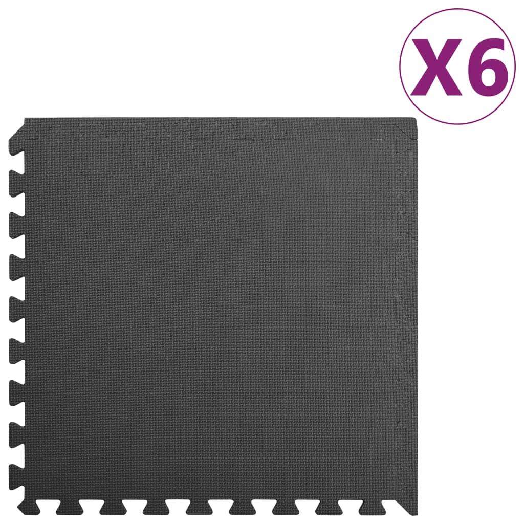 vidaXL Podložky puzzle 6 ks 2,16㎡ EVA pena čierne