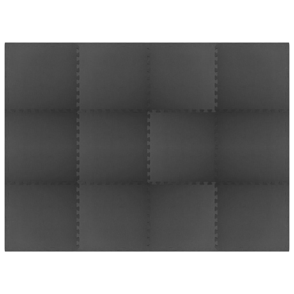 vidaXL Podložky puzzle 12 ks 4,32㎡ EVA pena čierne