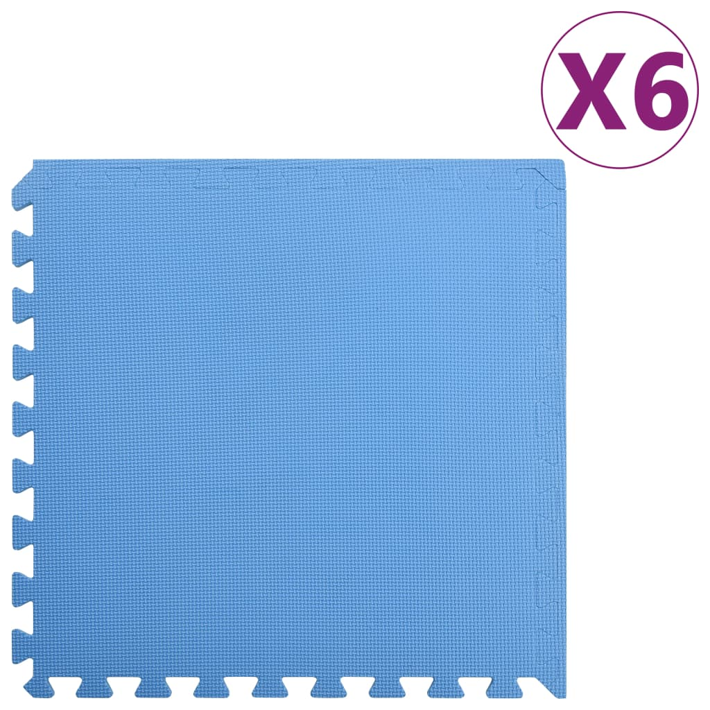vidaXL Podložky puzzle 6 ks 2,16㎡ EVA pena modré
