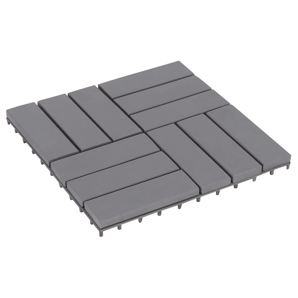 vidaXL Podlahové dlaždice 30 ks sivé ošúchané 30x30cm akáciový masív