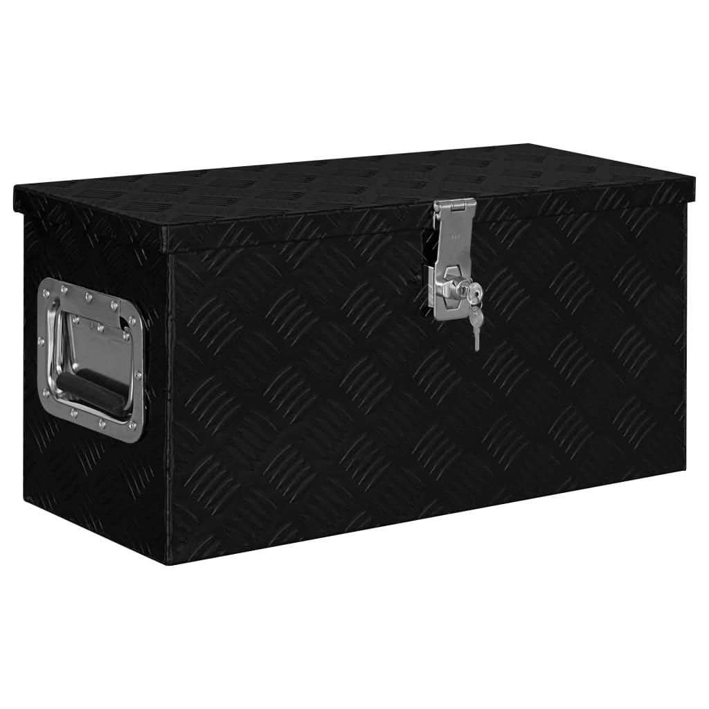 vidaXL Hliníkový box 61,5x26,5x30 cm čierny