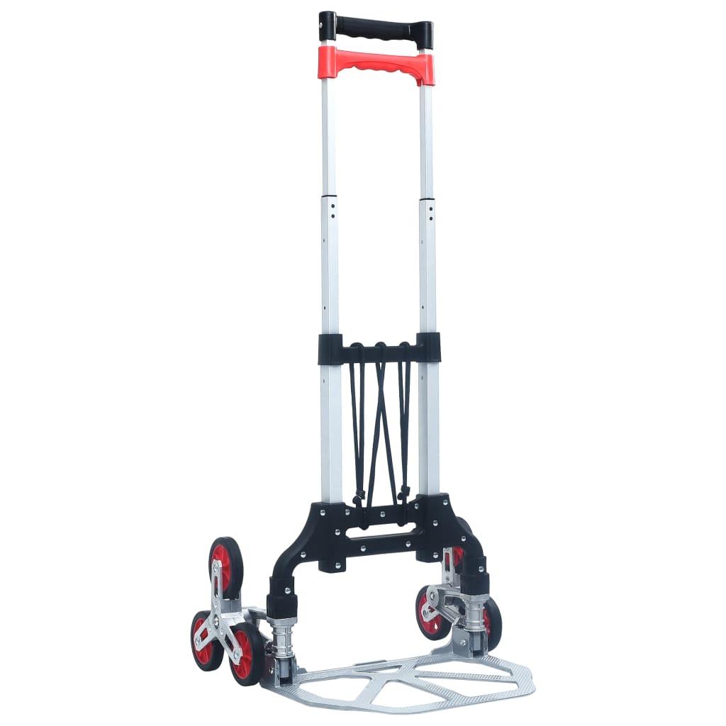vidaXL Skladací schodiskový vozík strieborný hliníkový 70 kg