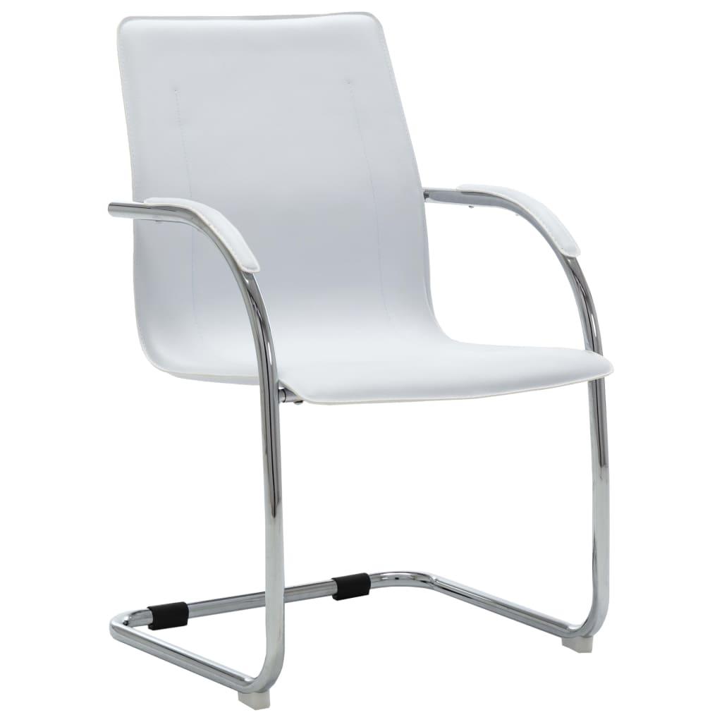 vidaXL Kancelárska stolička, perová kostra, biela, umelá koža