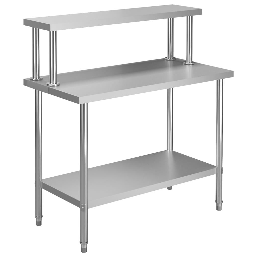 vidaXL Kuchynský pracovný stôl s policou 120x60x120 cm nehrdzavejúca oceľ