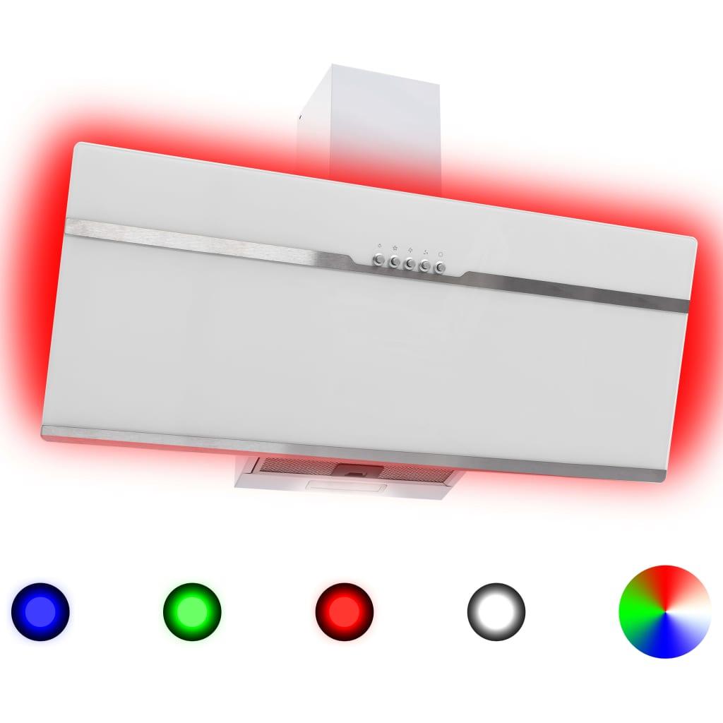 vidaXL RGB Nástenný digestor s LED 90 cm nehrdzavejúca oceľ a tvrdené sklo