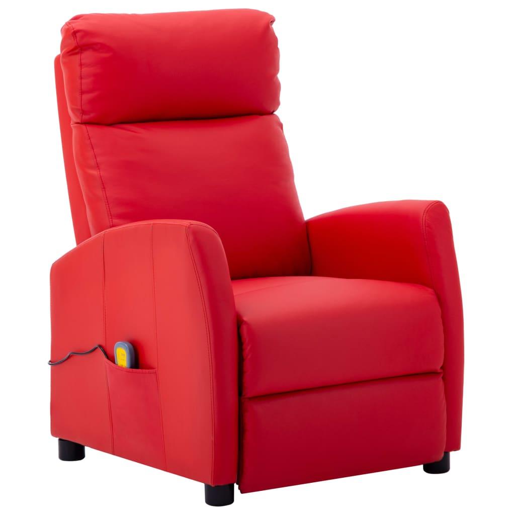 vidaXL Sklápacie masážne kreslo, červené, umelá koža